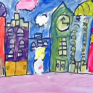 Cityscape Tempera Painting