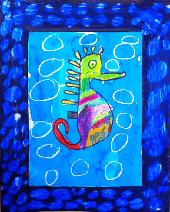 mixed media seahorse   art projects for kids
