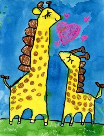 Mother Giraffe and Baby Painting
