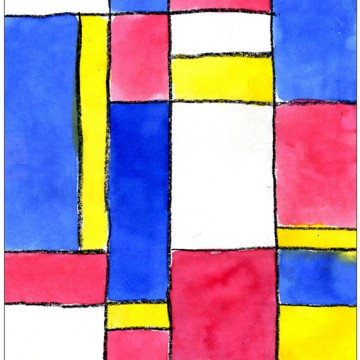 Mondrian Watercolor Painting