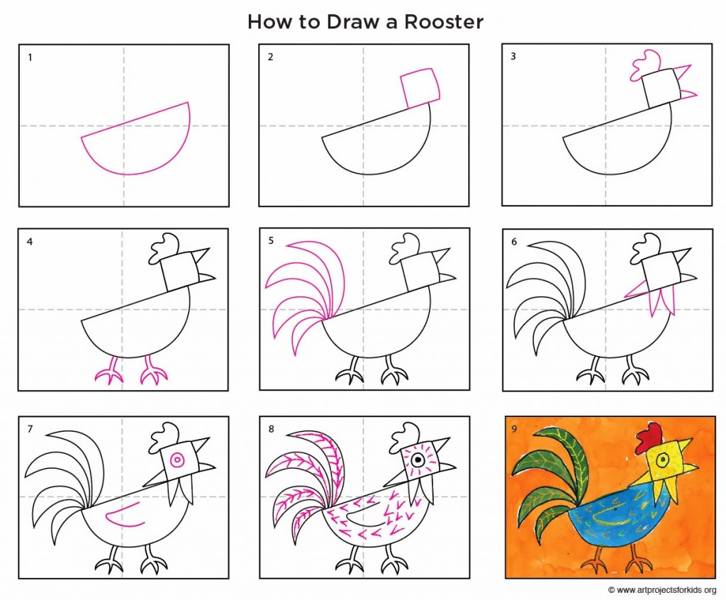 abstract rooster art projects for kids
