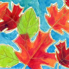 Tissue Paper + Watercolor Leaves