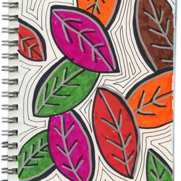 Layered Marker Leaf Drawing