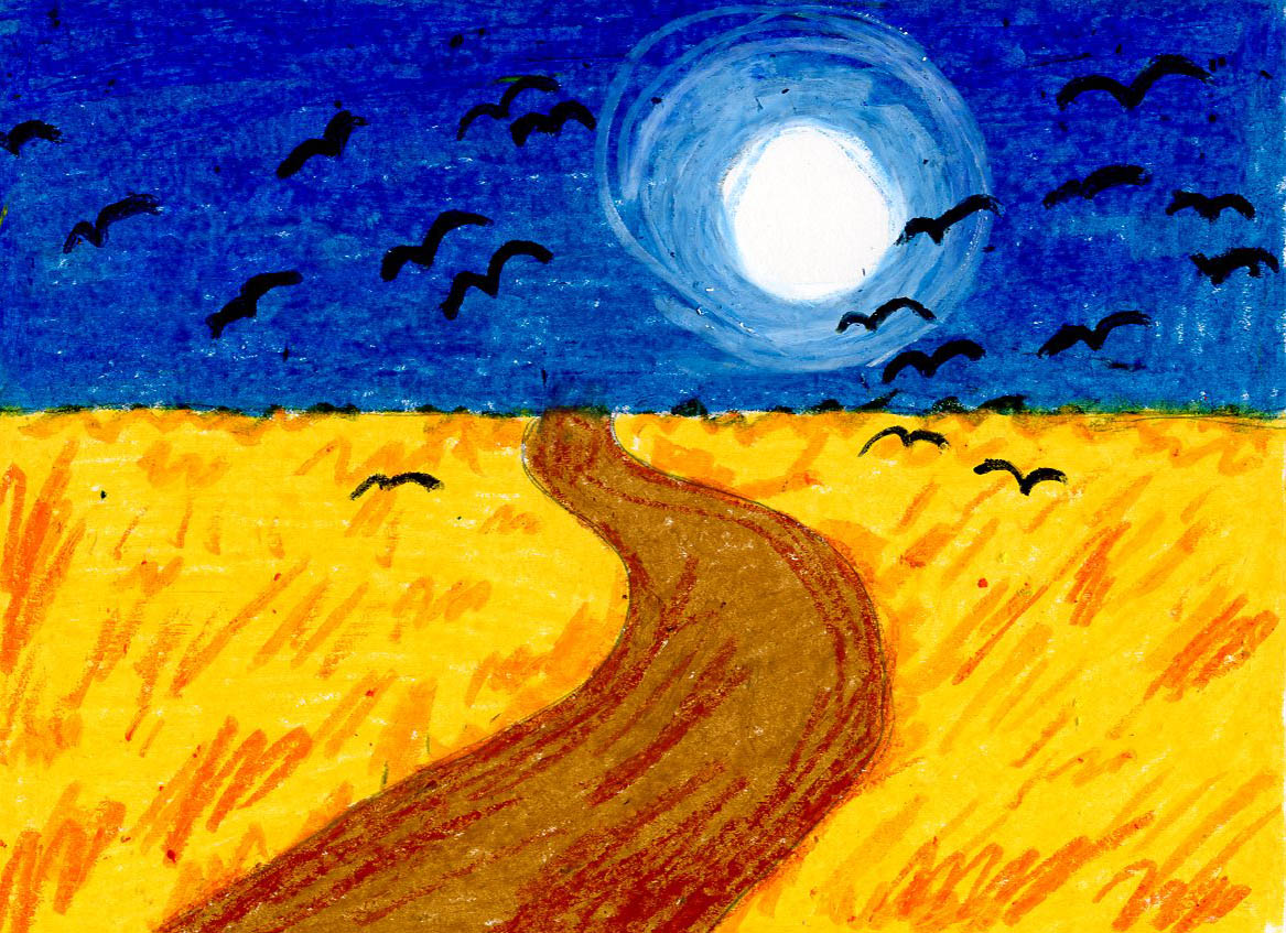 Van Gogh Wheat Field With Crows Art Projects For Kids