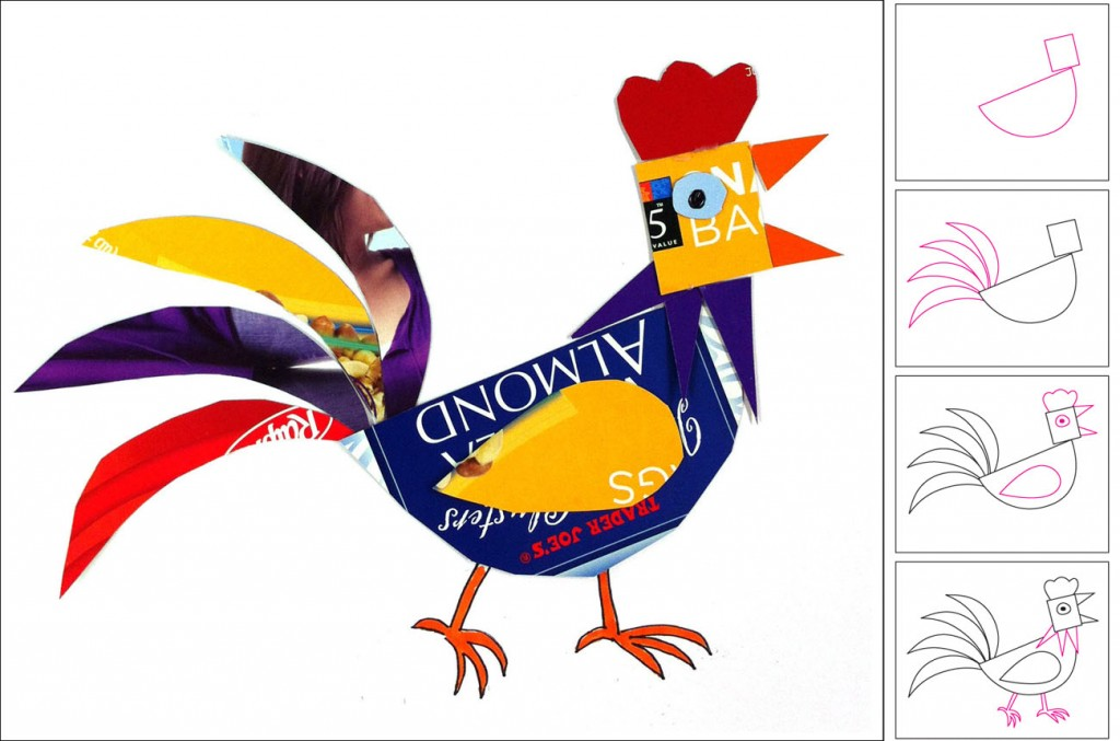 Recycled rooster art projects for kids for Rooster craft for kindergarten