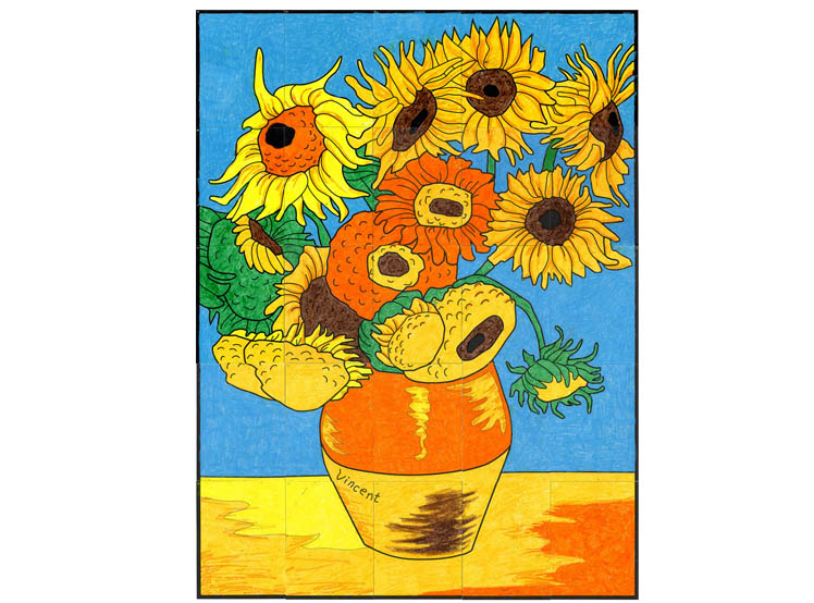 Van Gogh S Sunflower Mural Art Projects For Kids