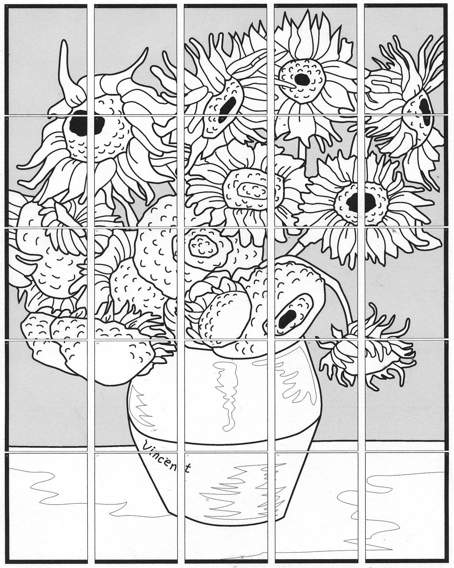 free coloring pages of sunflowers vangogh