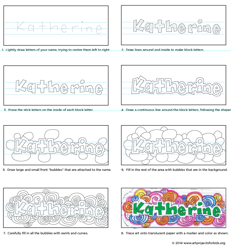 Doodle your name art projects for kids for How to doodle names