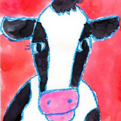 Watercolor Cow Face
