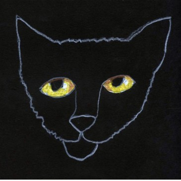 Black Cat with Glowing Eyes