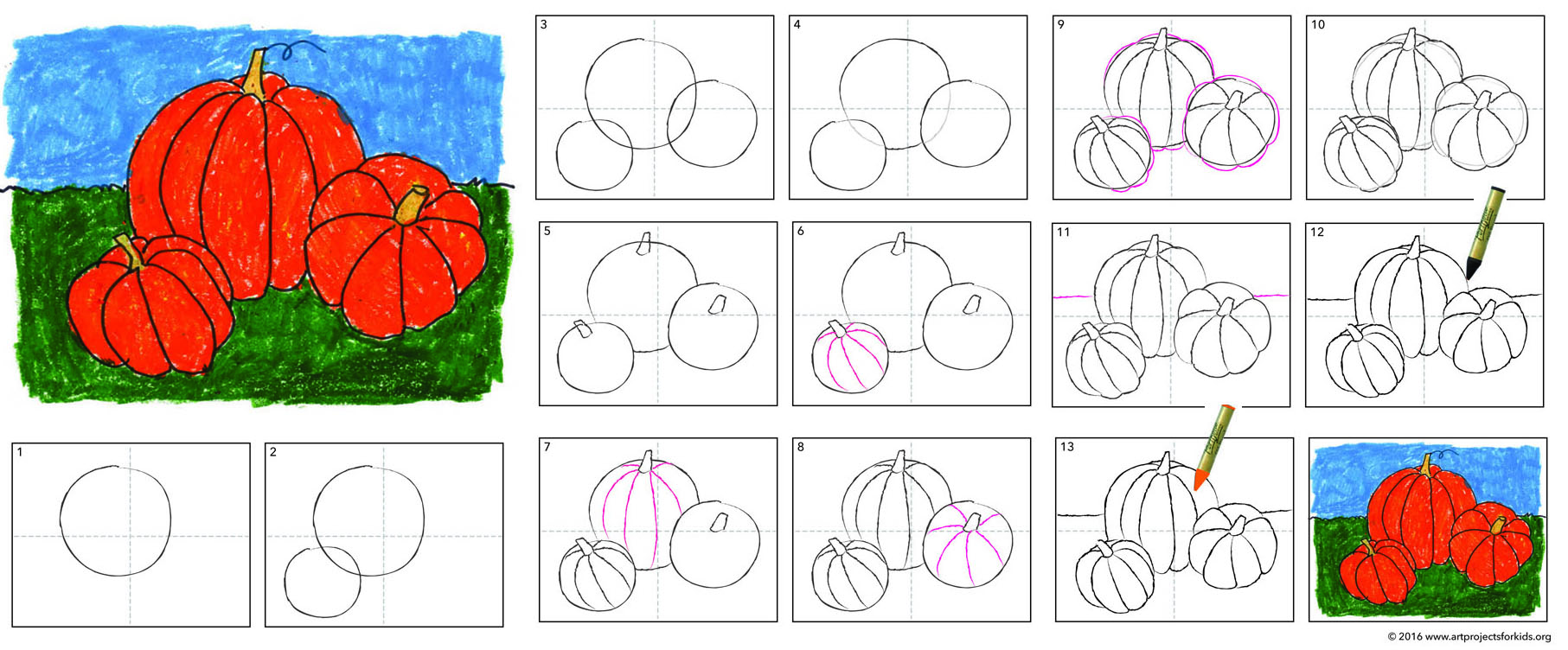Pumpkin drawing art projects for kids for How to make doodle