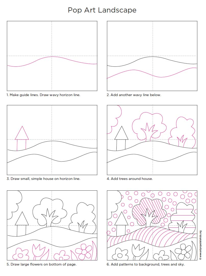 Pop art landscape art projects for kids for Easy landscape drawings step by step