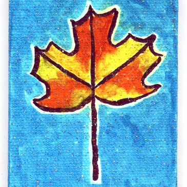 Sharpie Leaf on Mini Canvas