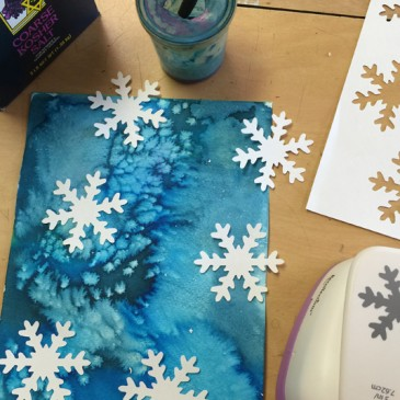 Watercolor, Salt and Snowflakes