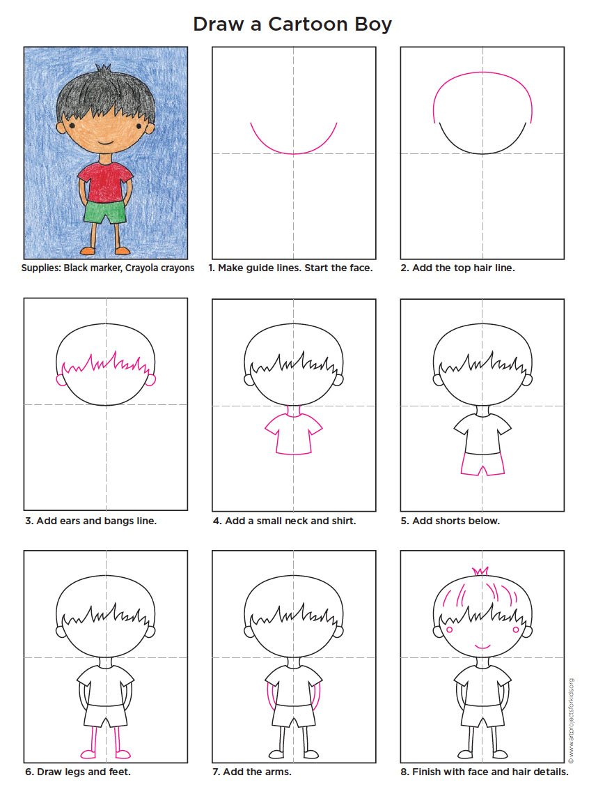 draw a cartoon boy art projects for kids. Black Bedroom Furniture Sets. Home Design Ideas