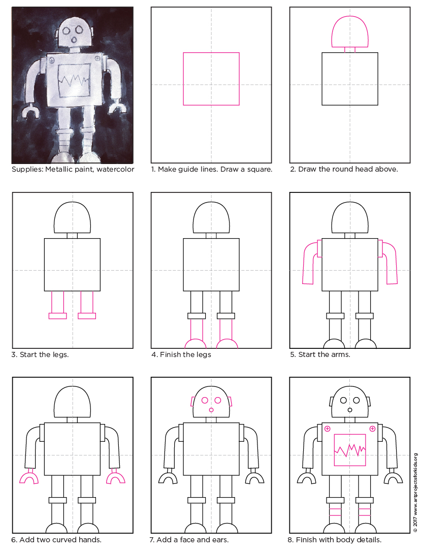 Draw a robot art projects for kids for How do you make a blueprint
