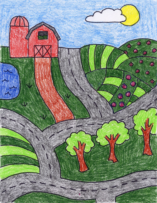 Draw a farm art projects for kids for How to draw a farmhouse