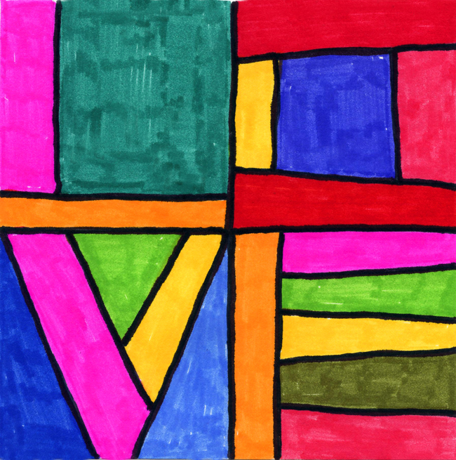 Line Art Projects : Love lines art projects for kids