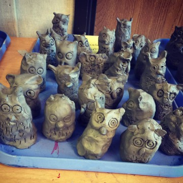 Clay Owls, by 1st Graders