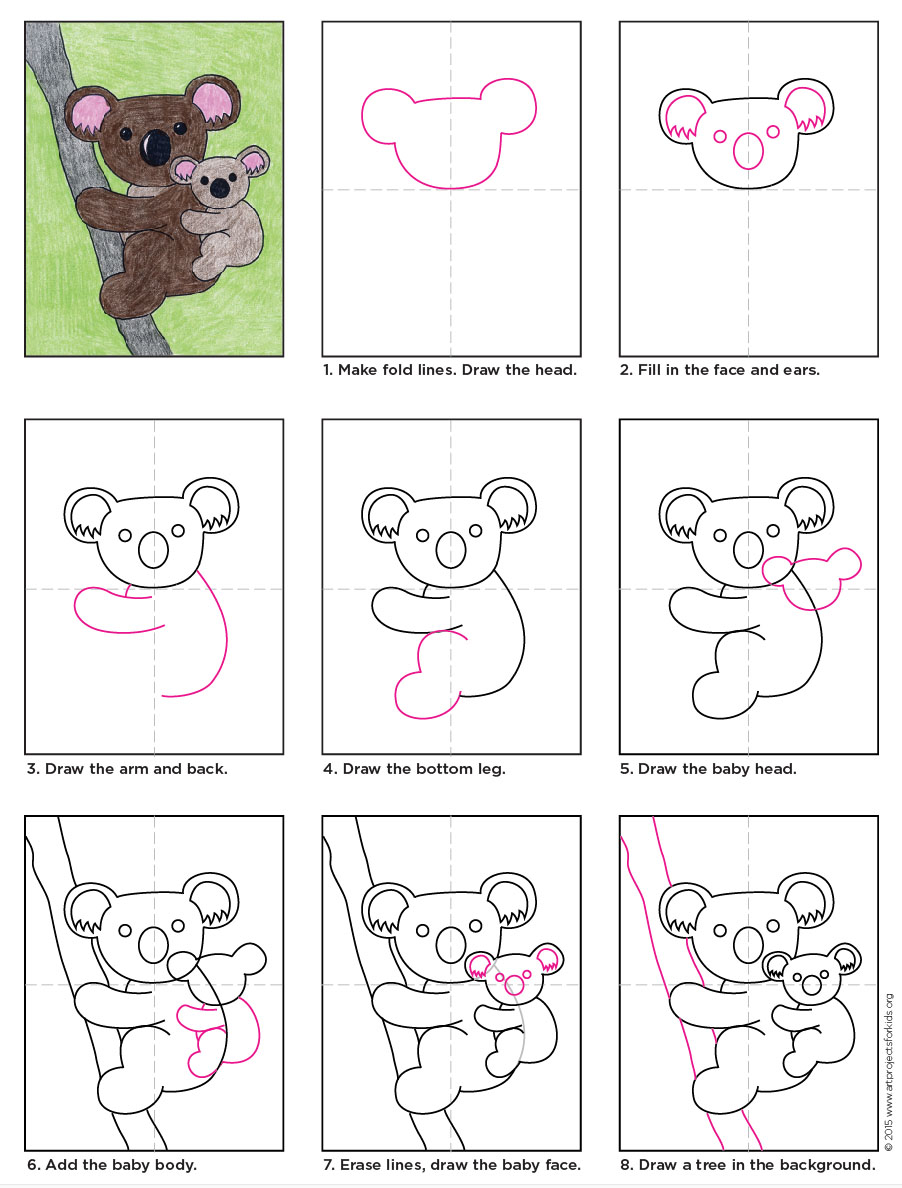 The only thing cuter than a koala is a koala and a baby this drawing