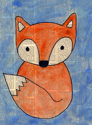 Fox Painting on Newspaper