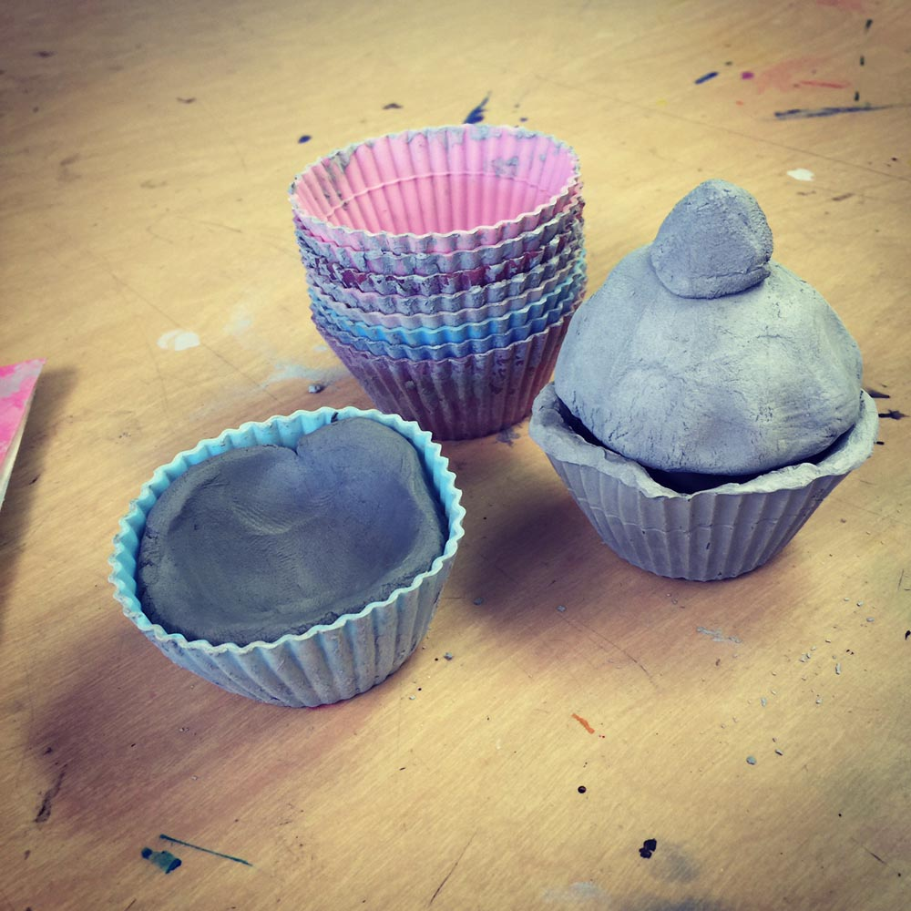 Ceramic cupcakes for kinders art projects for kids