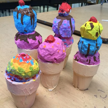 More Paper Mache Ice Cream Cones