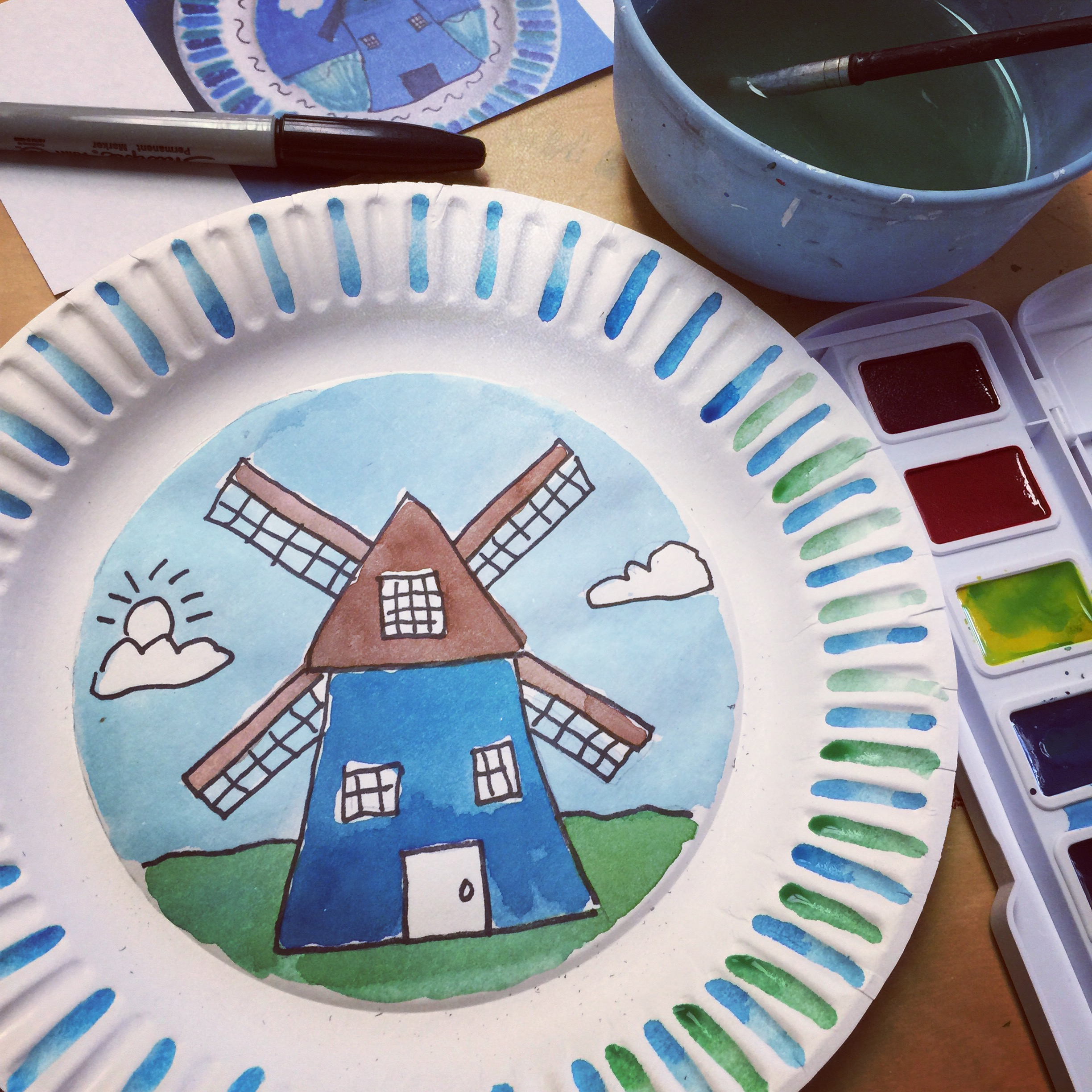 Dutch windmills art projects for kids for Painting craft projects