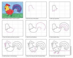 how to draw a rooster for kids