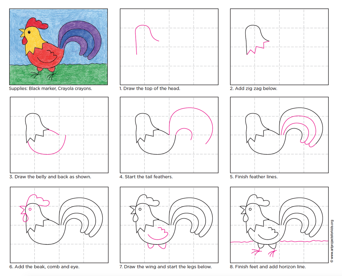 Draw a rooster art projects for kids