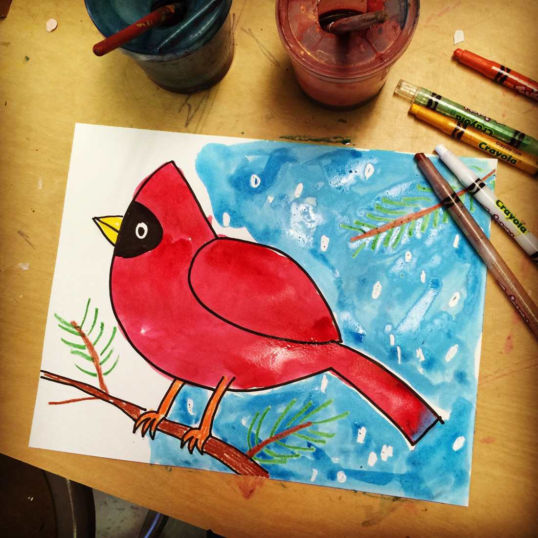 Cardinal painting art projects for kids for Watercolor painting and projects
