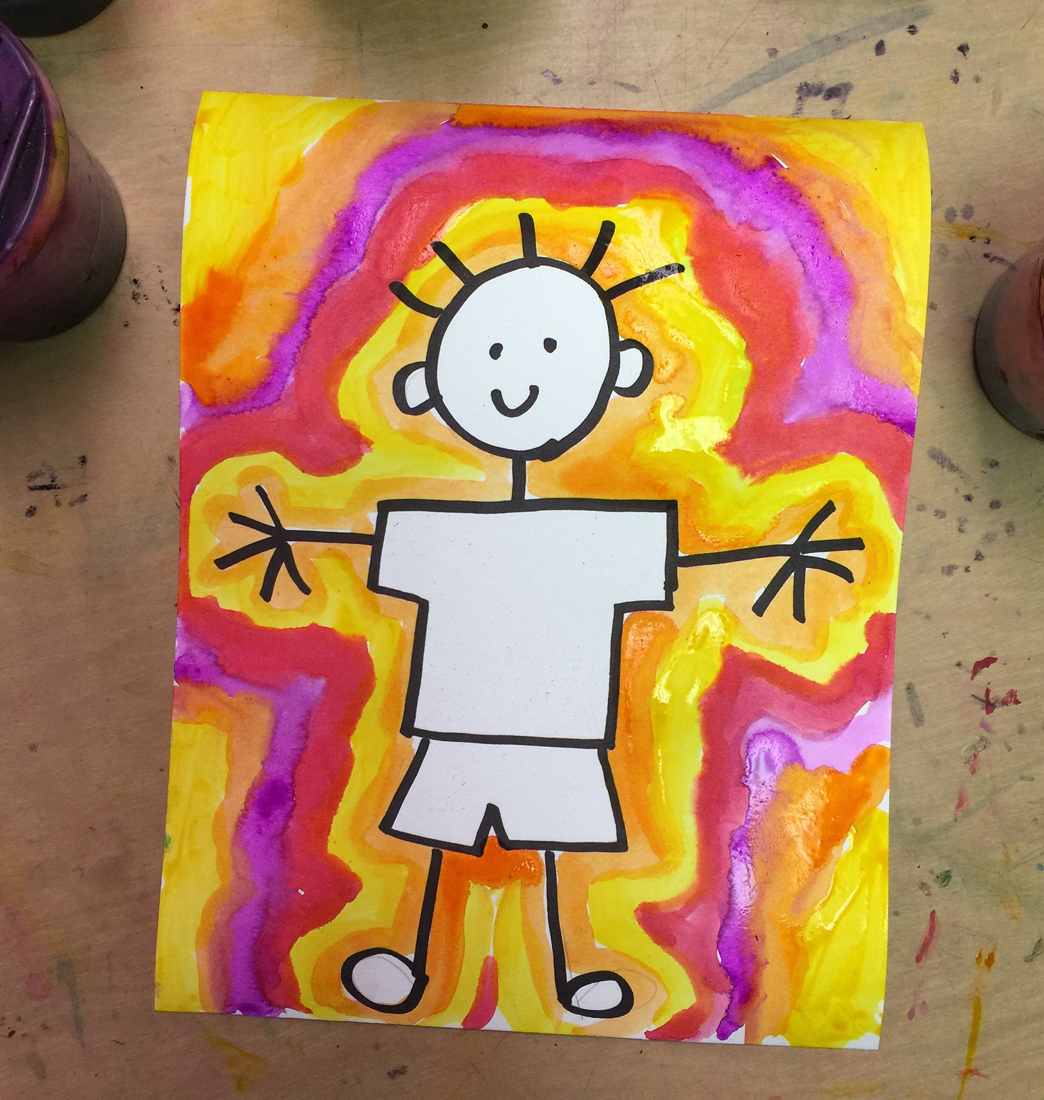 say yes to stick figures for a day and let students just concentrate on their fine motor painting skills - Drawing And Painting For Kids