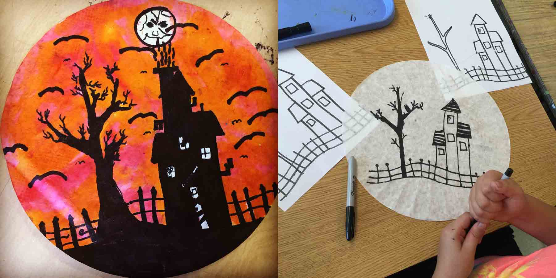 halloween silhouette art projects for kids. Black Bedroom Furniture Sets. Home Design Ideas