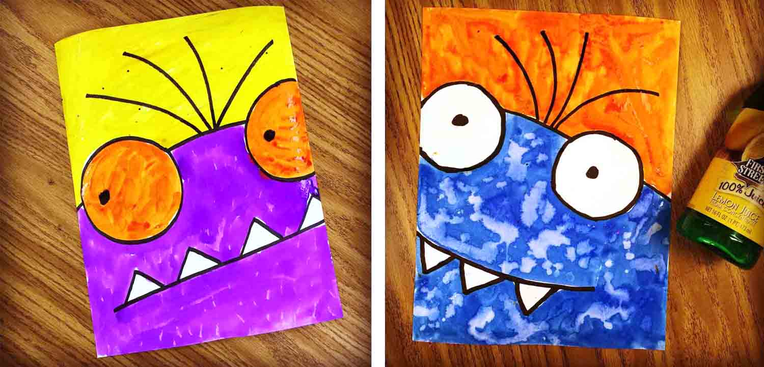 Draw a monster super close up style art projects for kids for Painting craft projects
