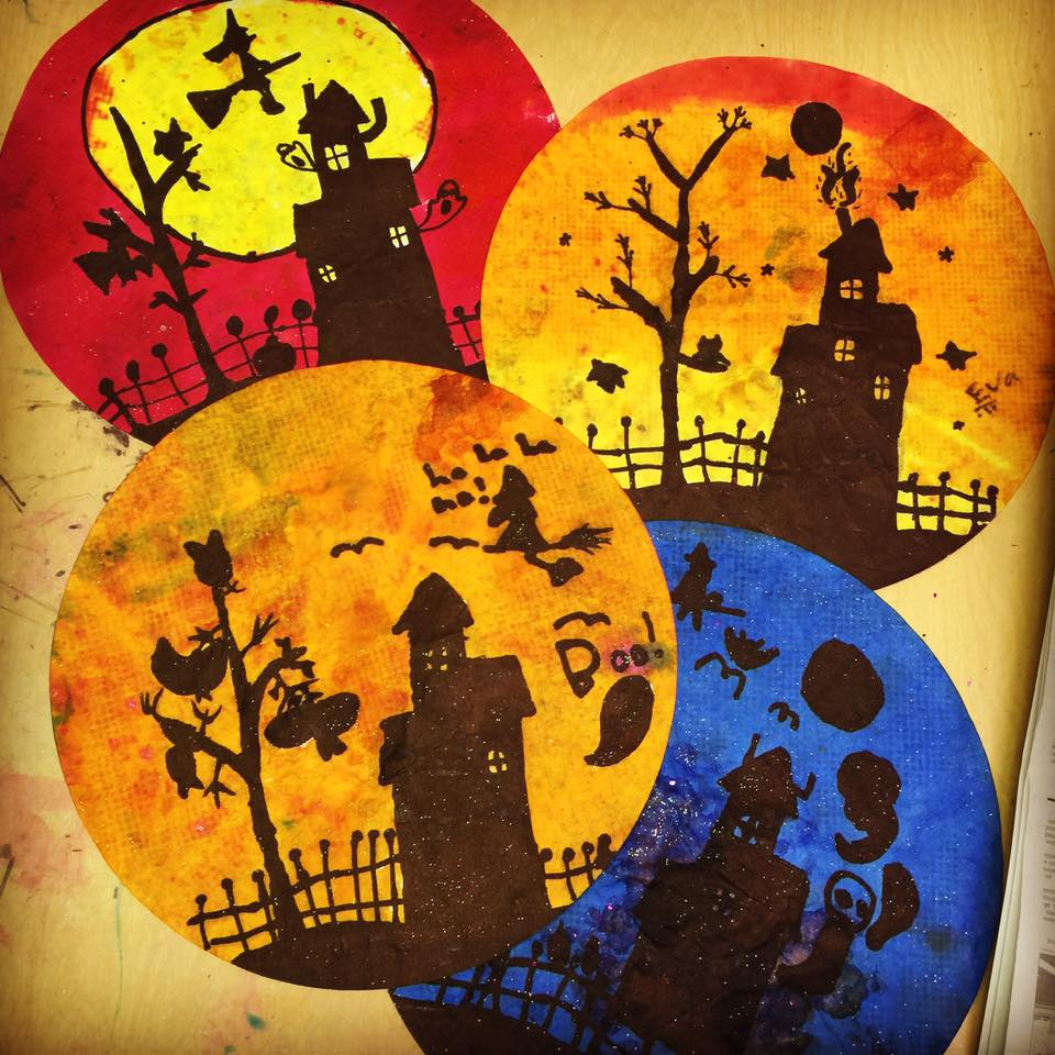 More halloween silhouettes art projects for kids for Arts and craft paint