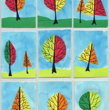 Tape and Watercolor ATC Trees