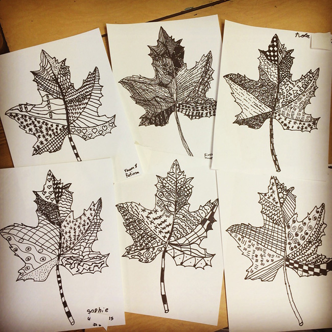 Line Project Art : Zentangle leaves art projects for kids