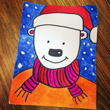 Santa Bear in Tempera Paint