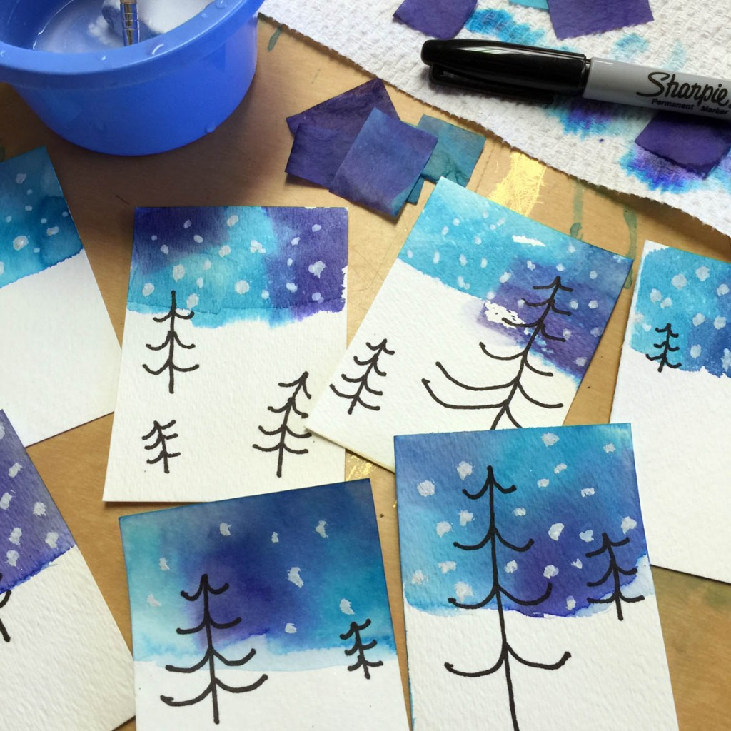 Winter Tree Drawing and Tissue Paper Skies - Art Projects for Kids