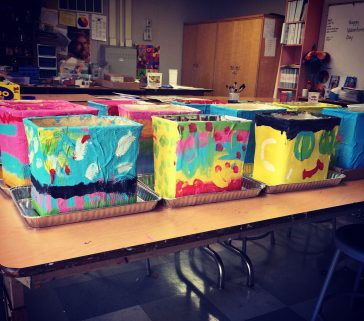 Paper Mache Cartons, Painting Day