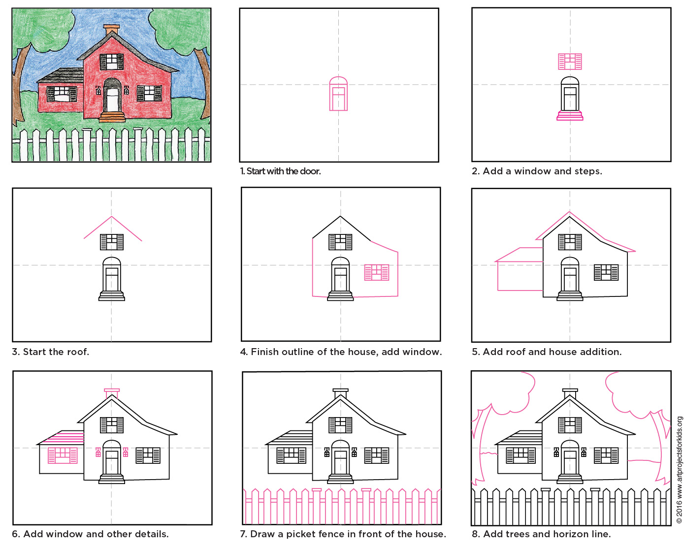 Draw a country house art projects for kids for How to draw a log cabin step by step