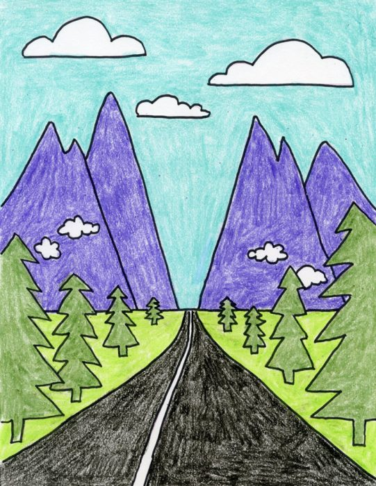 How to Draw Perspective Landscape - Art Projects for Kids