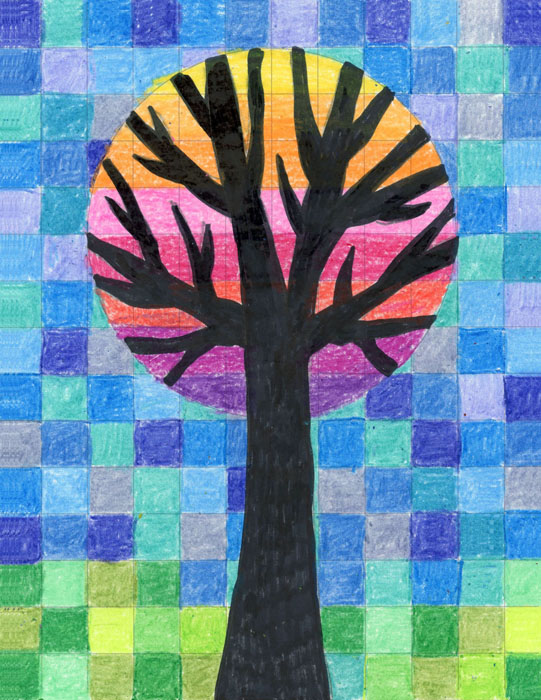 Circle grid tree art projects for kids for Painting craft projects