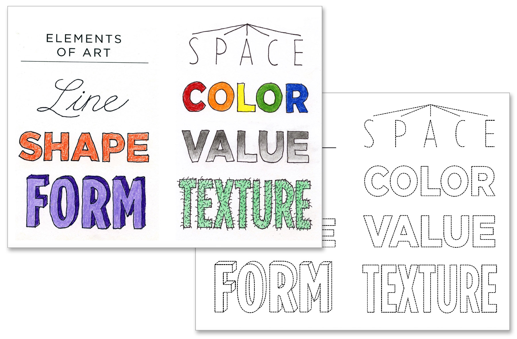 3 Elements Of Art : Elements of art letter page projects for kids