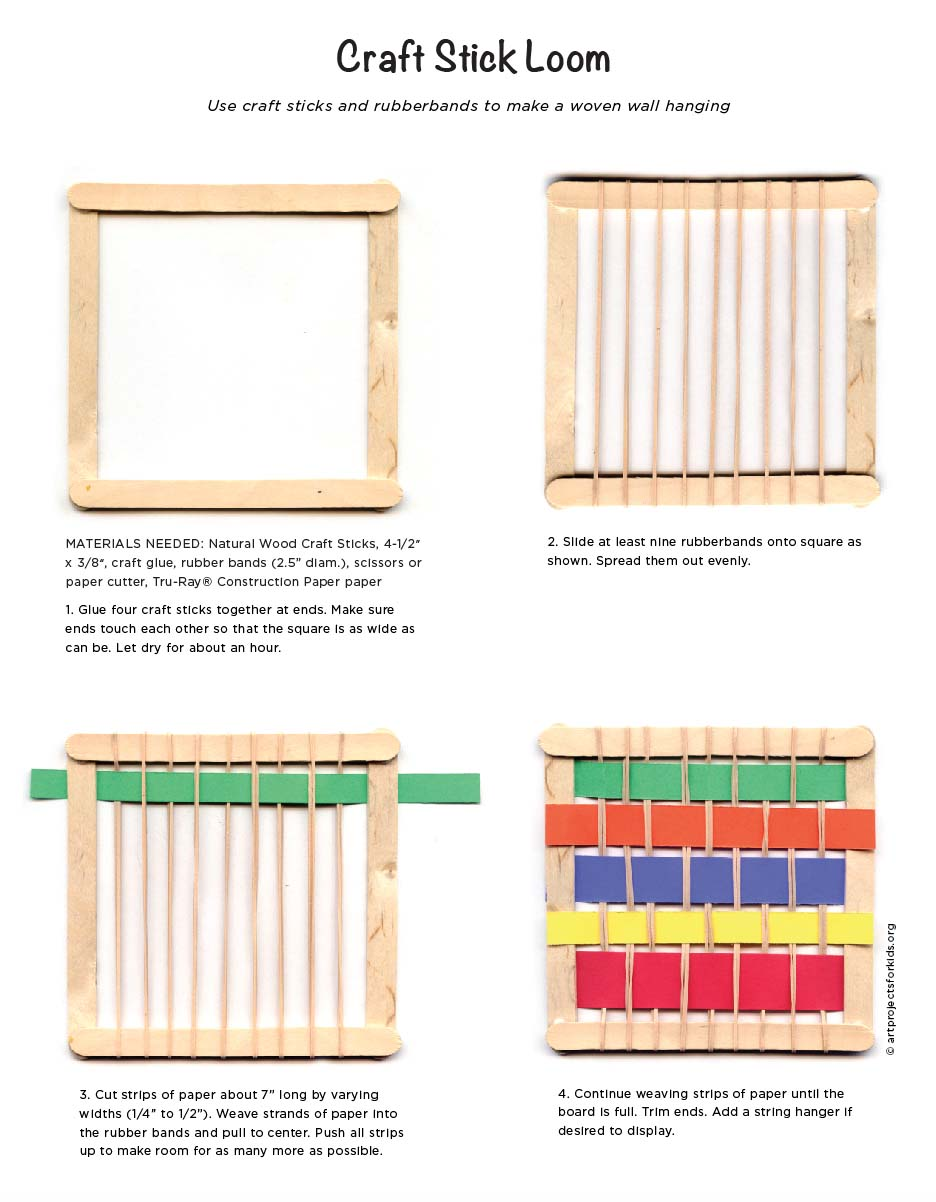 Long wooden craft sticks - I Tried This Craft Stick Loom Project Out Last Year And Really Liked It As An Intro To Weaving