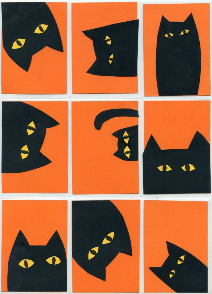 Halloween idea for cat collage art projects for kids for Cat art and craft