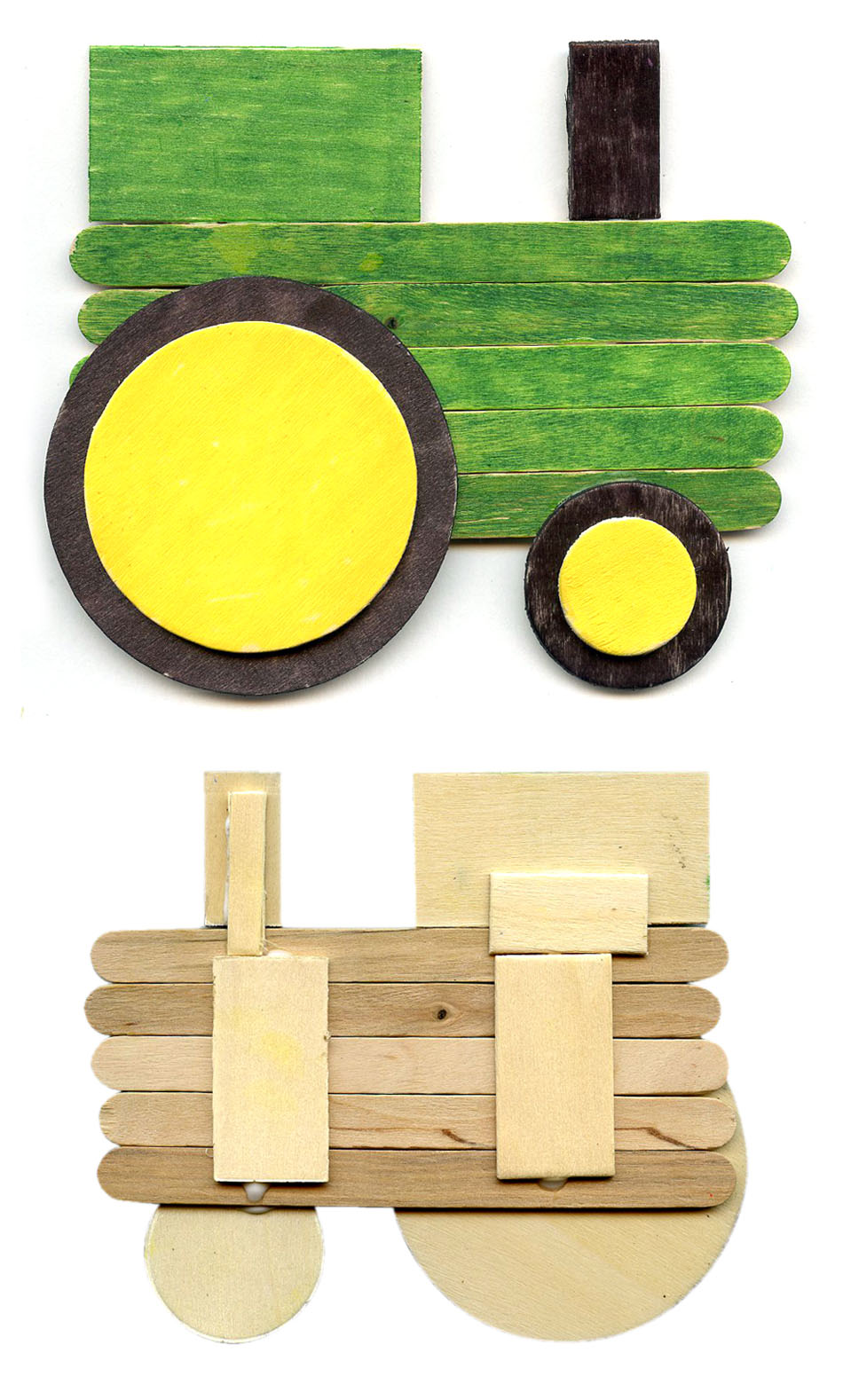 Make a tractor from popsicle sticks art projects for kids for Tractor art projects