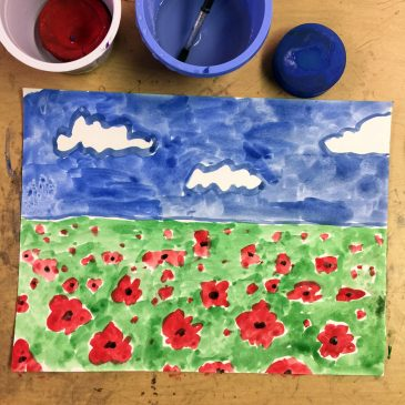 Veterans Day Poppy Painting
