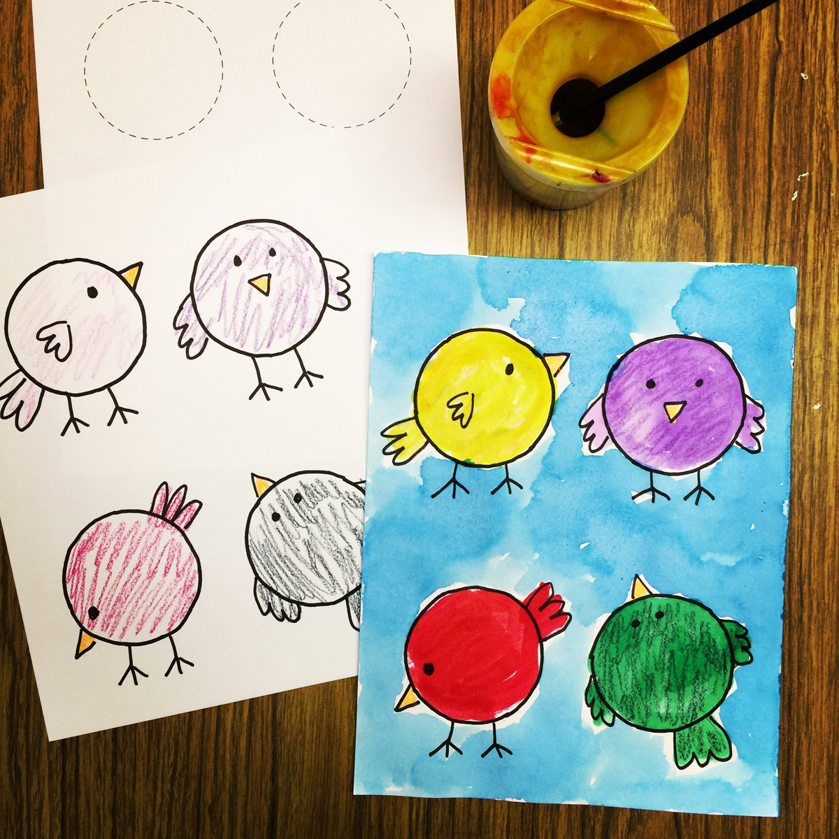 PreK Painting, Little Birdies - Art Projects for Kids
