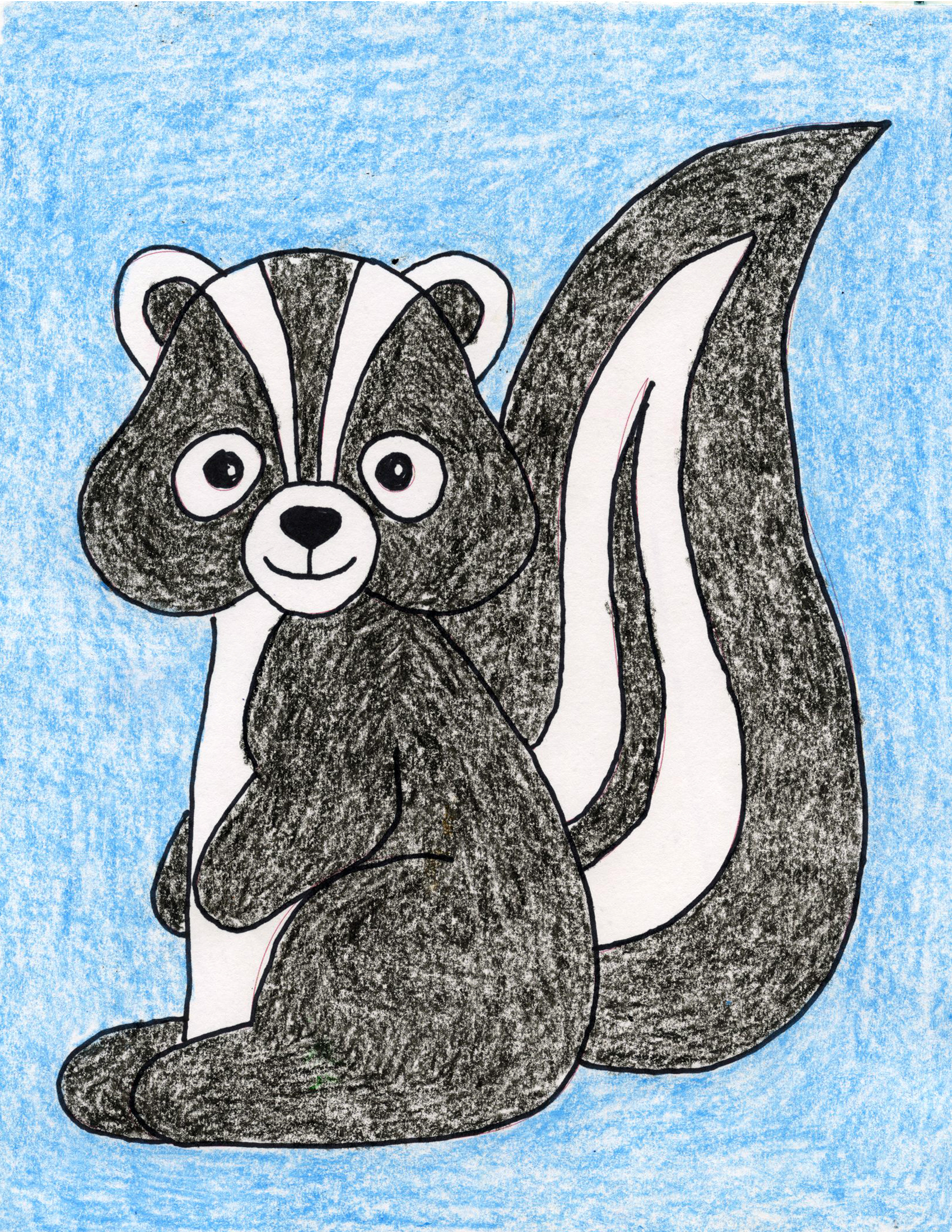 how to draw a skunk